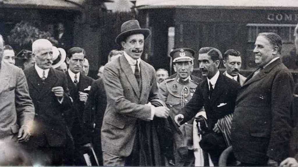 Alfonso XIII visita el Caminito del Rey en 1921.