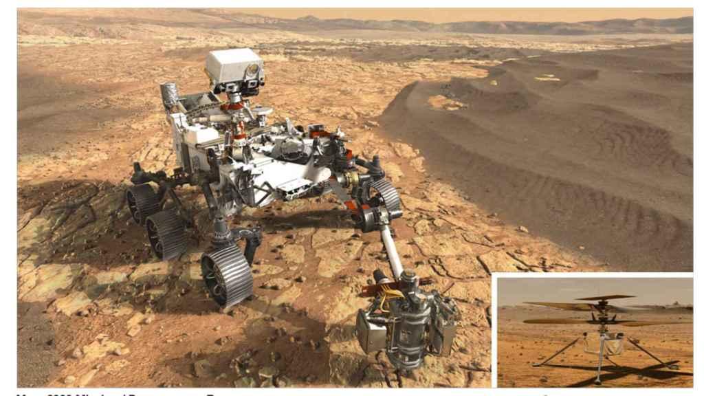 Rover Perseverance y helicóptero Ingenuity