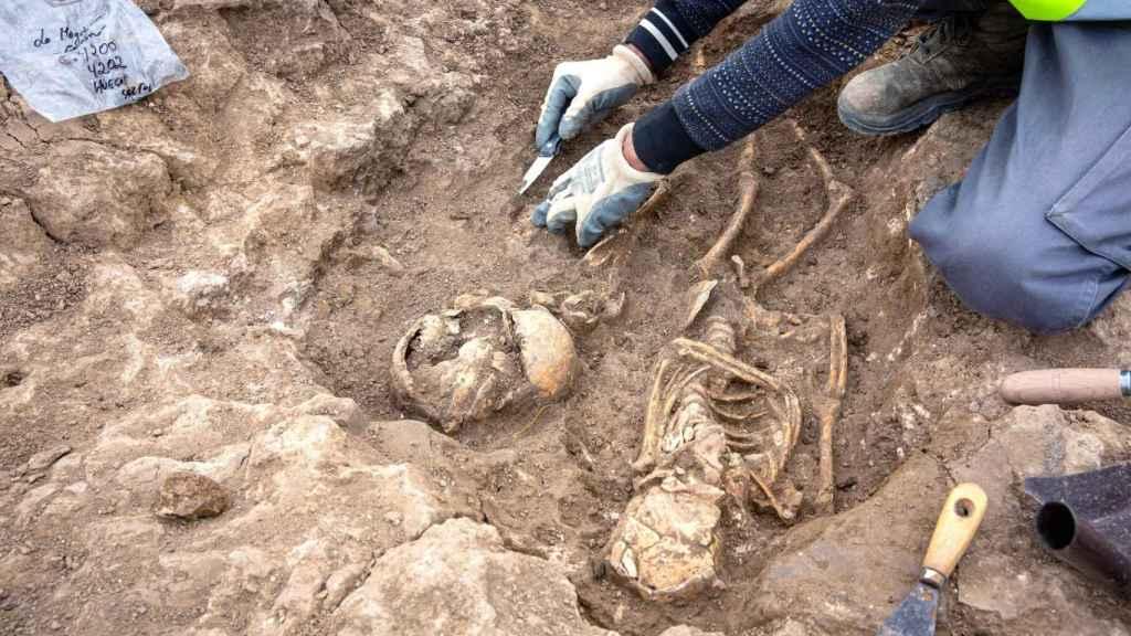Restos de la necrópolis encontrados en el municipio de Grañón.