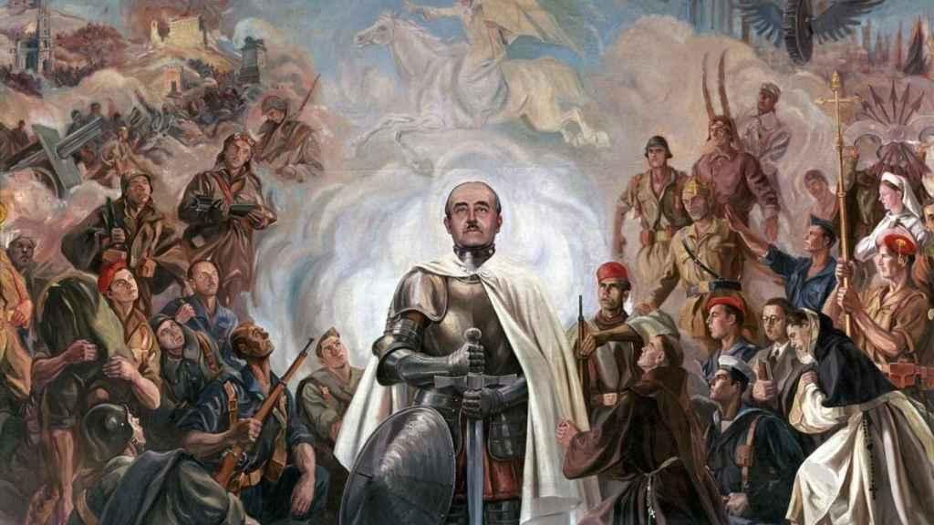 'Alegoría de Franco y la Curzada', una obra del artista Arturo Reque Meruvia.