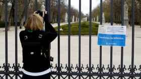 El Parque del Retiro de Madrid, cerrado.