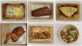 De izquierda a derecha y de arriba a abajo: bacalao, costillas, dorada, pollo Frango, salmón y menestra, hechos en Mercadona.