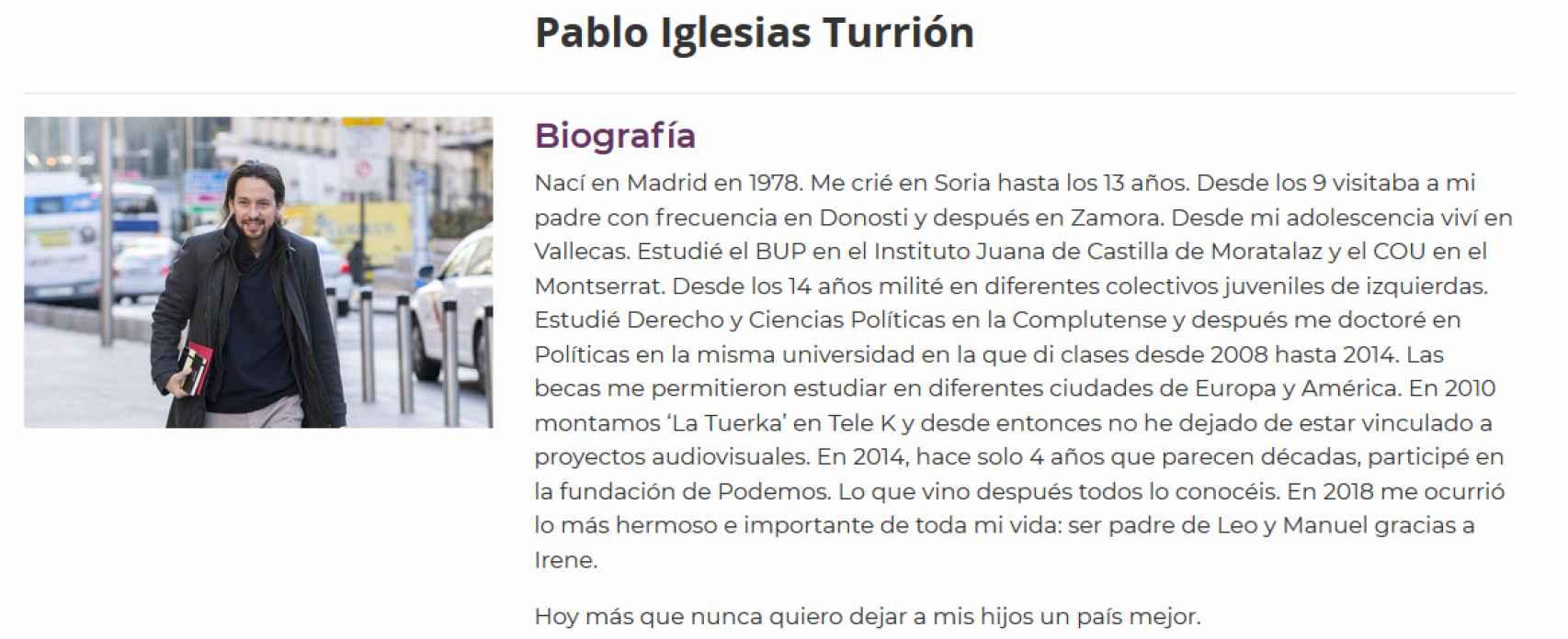 Biografía de Pablo Iglesias en la web oficial de Podemos. Admite haber estudiado el COU en el centro concertado Montserrat Fuhem.
