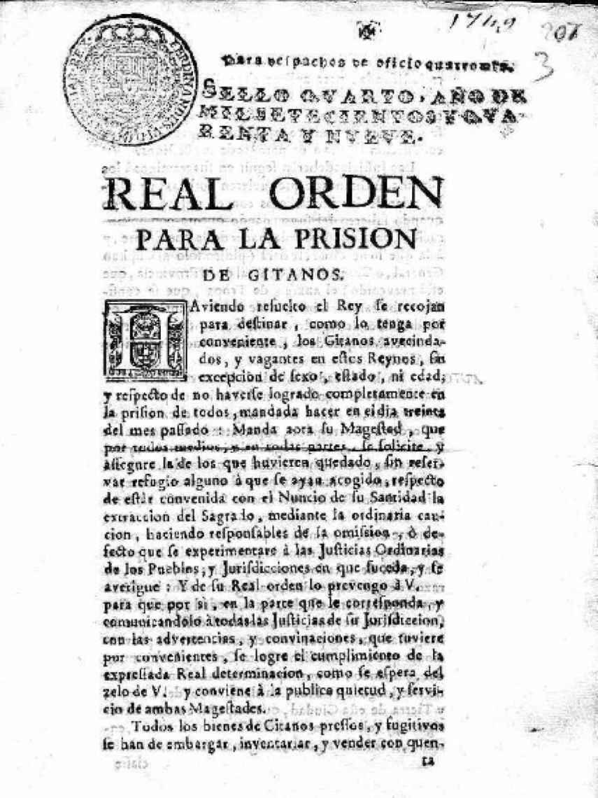 Real Orden para la prisión de los gitanos en 1749.