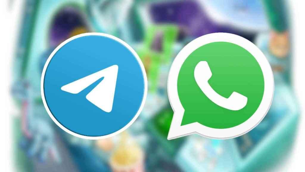 Telegram and WhatsApp logos