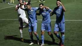 El Fuenlabrada celebra un gol contra el Elche