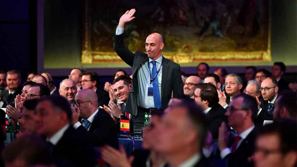 Luis Rubiales durante un evento de la UEFA