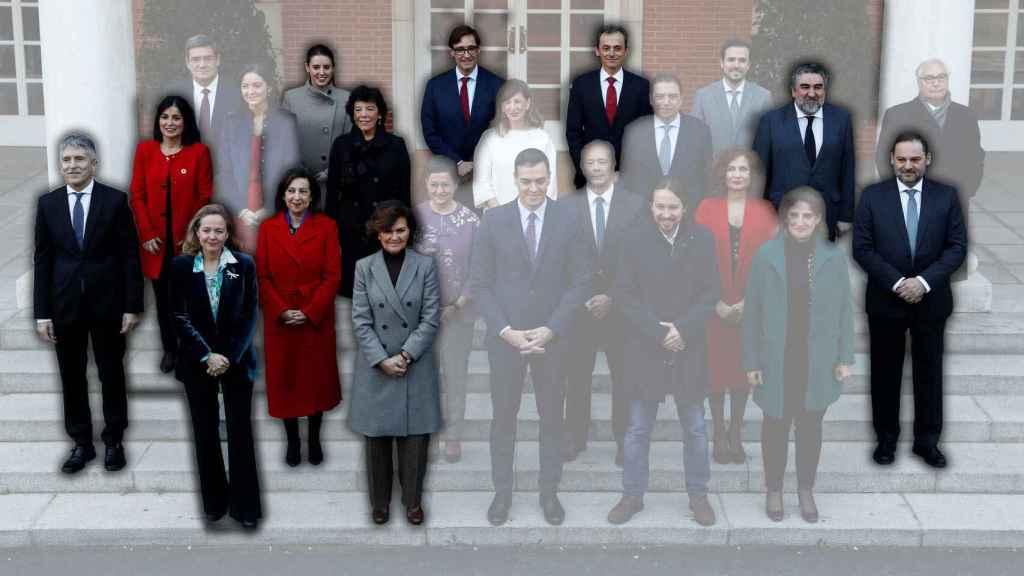 Foto del Consejo de ministros. Resaltados, quienes estudiaron en un centro concertado o privado.