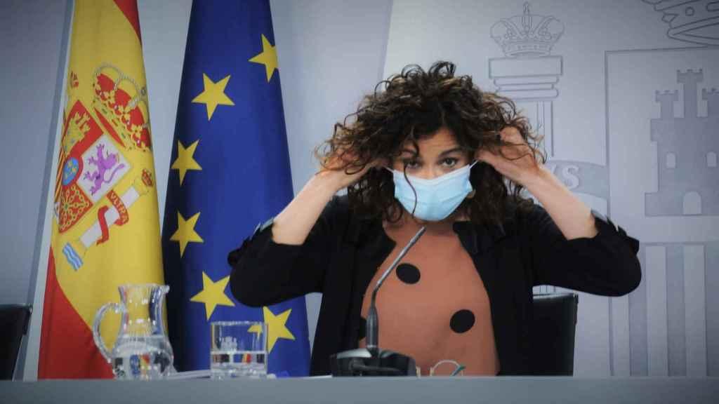 María Jesús Montero, ministra portavoz, en rueda de prensa, en Moncloa.