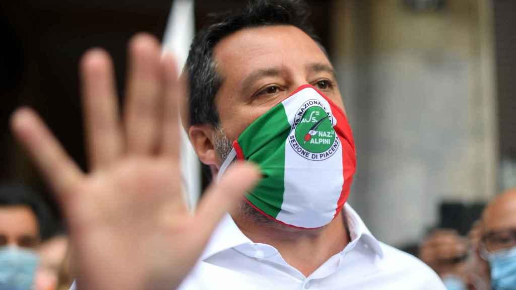 Mateo Salvini, durante una manifestación a mediados de julio.