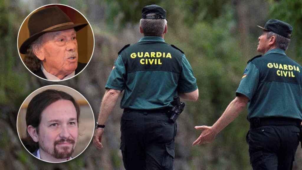 Arriba a la izquierda, José Jiménez, un activista gitano de 73 años. Debajo, el vicepresidente Pablo Iglesias.
