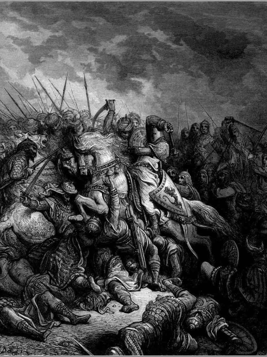 Saladino y Ricardo Corazón de León en la batalla de Arsuf, según Gustave Doré.