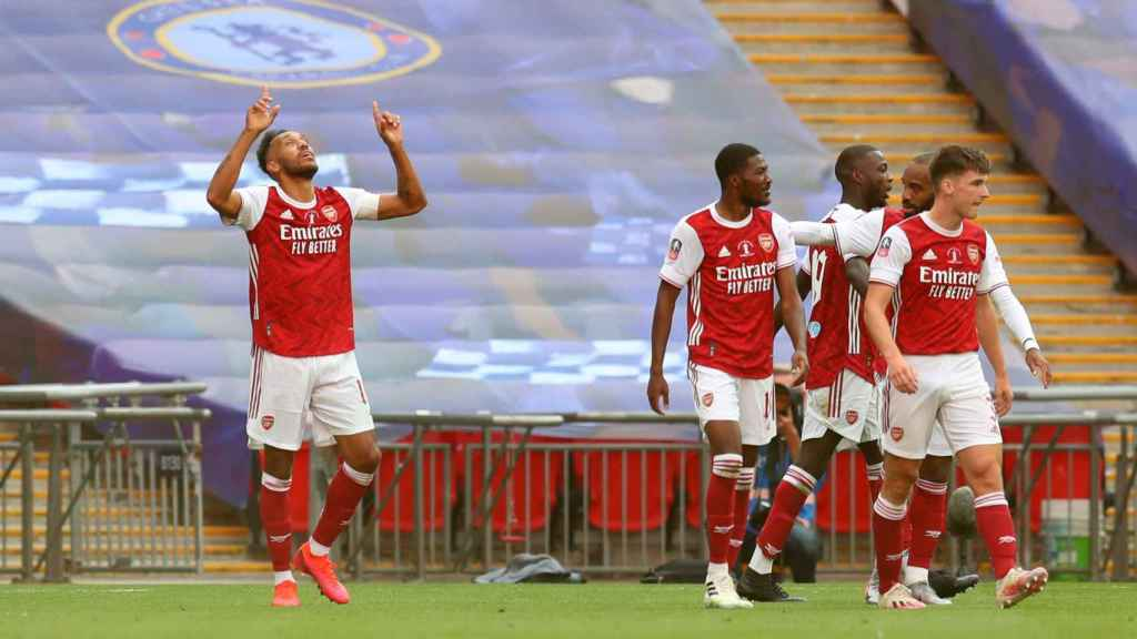 Aubameyang celebra un gol del Arsenal en la final de la FA Cup