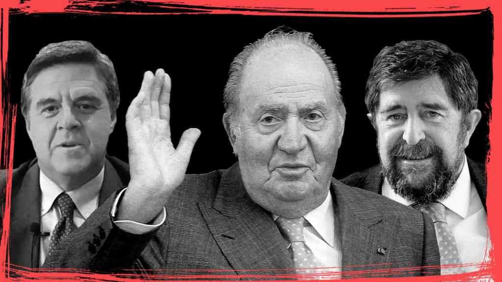 De izquierda a derecha: Javier Sánchez-Junco, abogado del rey; Juan Carlos de Borbón y el fiscal Juan Ignacio Campos.