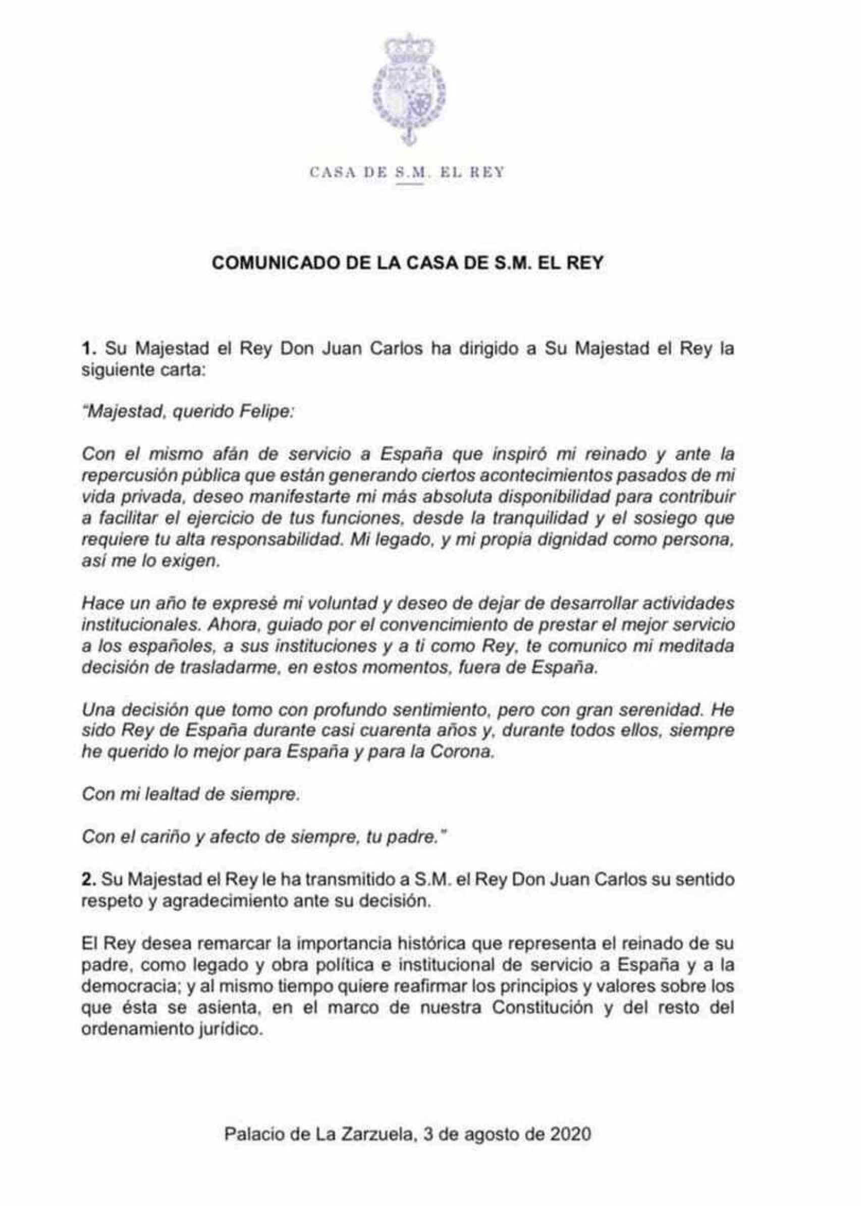 Comunicado del rey Juan Carlos.