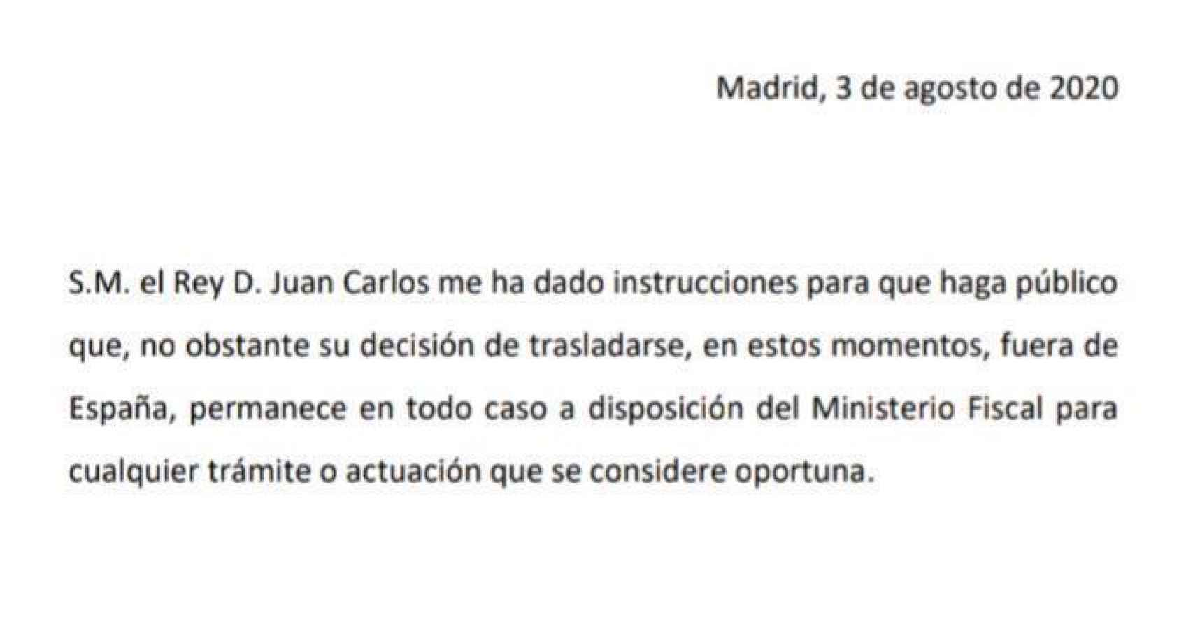 Comunicado el abogado del emérito Javier Sánchez-Junco.