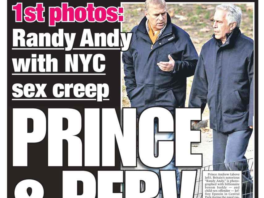 El príncipe Andrés y Jeffrey Epstein en la portada de 'New York Post' del 21 de febrero de 2011.