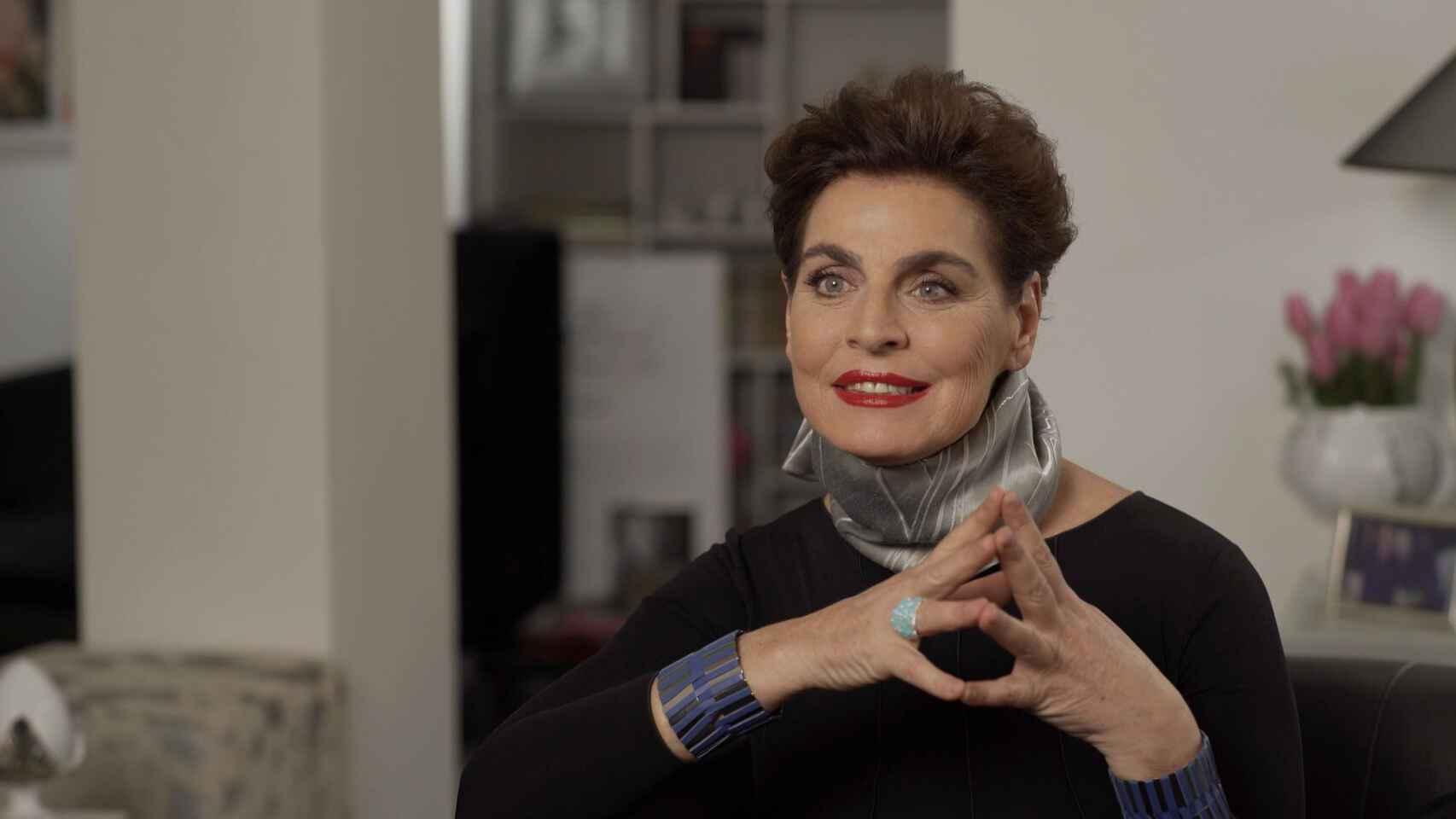 Antonia Dell'Atte durante la grabación de 'Lazos de sangre' en TVE.