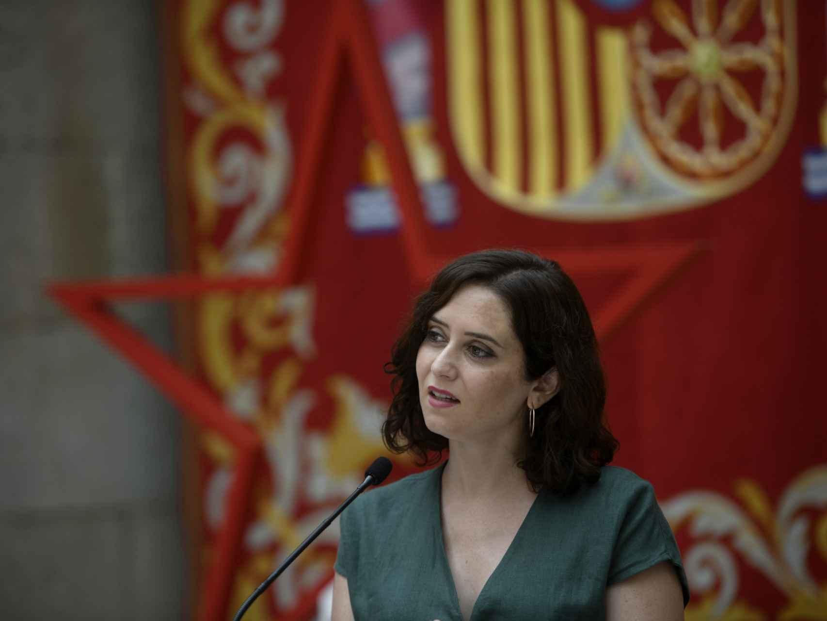 La presidenta de la Comunidad de Madrid, Isabel Díaz Ayuso, durante la presentación de la estrategia de continuidad de la Covid-19.