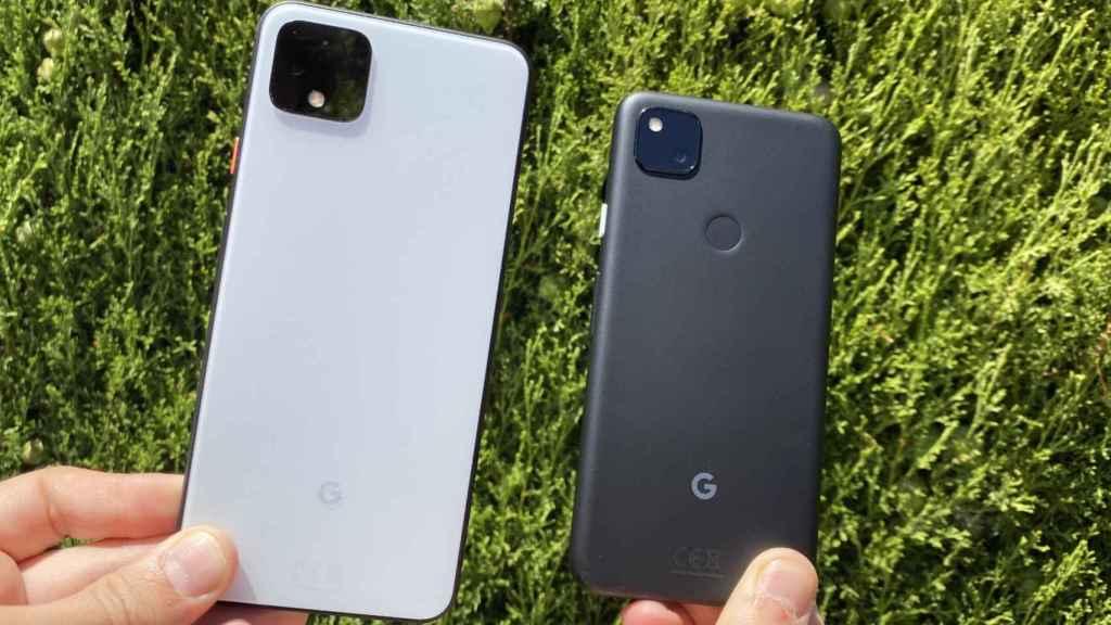 Google Pixel 4 junto al Pixel 4a.