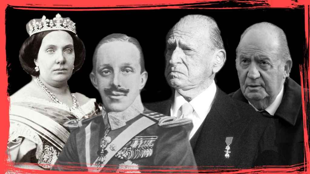 Isabel II de España, Alfonso XIII, Juan de Borbón y Juan Carlos I.