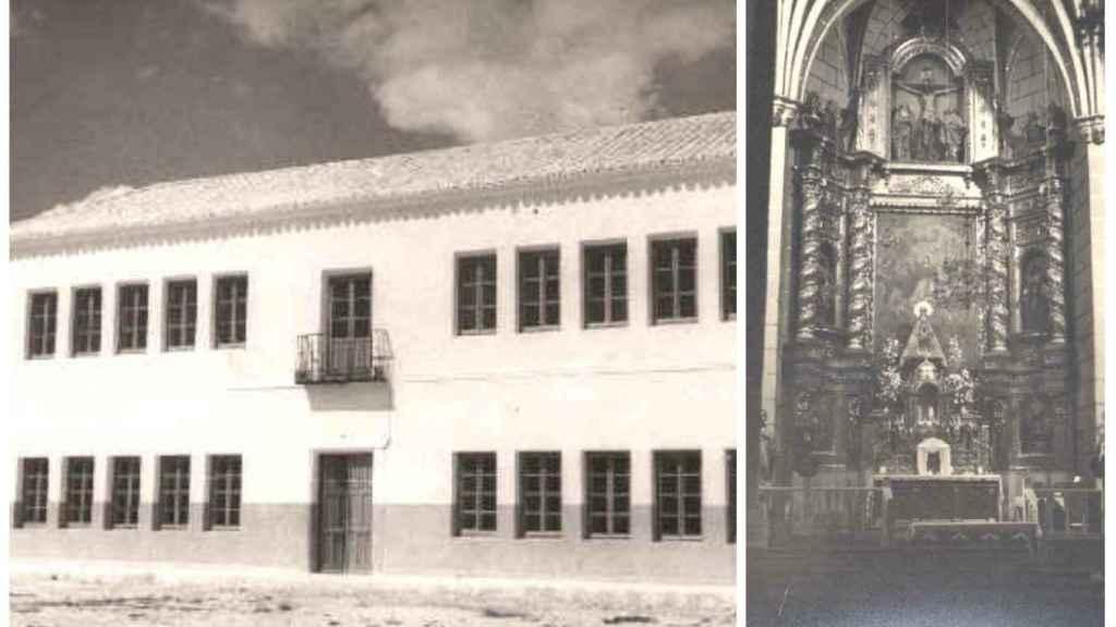 La fachada del colegio donde impartía clase Presentación y la iglesia donde se casó con Narciso en montaje de JALEOS.