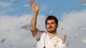 Iker Casillas, durante la celebración de su última Liga con el Real Madrid