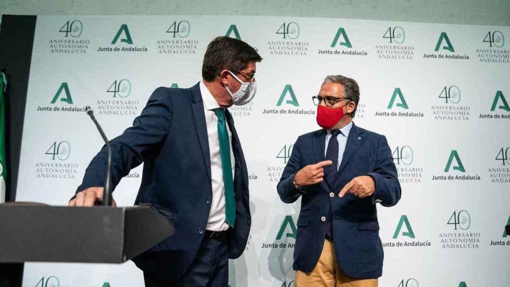 El vicepresidente de la Junta, Juan Marín, y el consejero de Presidencia, Elías Bendodo.