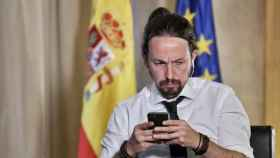 Pablo Iglesias en su despacho del Congreso de los Diputados.