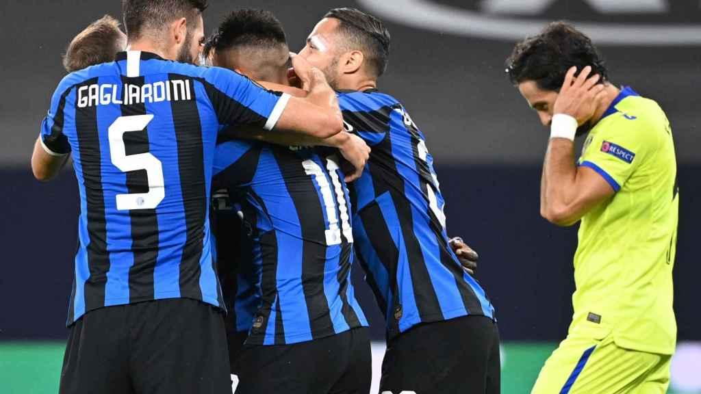 Los jugadores del Inter celebran el gol de Lukaku ante el Getafe