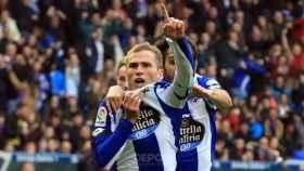 Álex Bergantiños celebra un gol con el Deportivo de La Coruña
