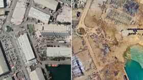 El antes y el después de la zona de las explosiones en Beirut.