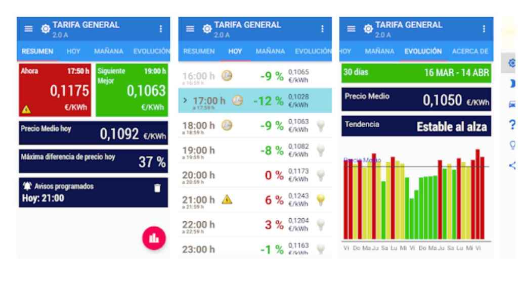 Interfaz de la app Ahorra en Luz.