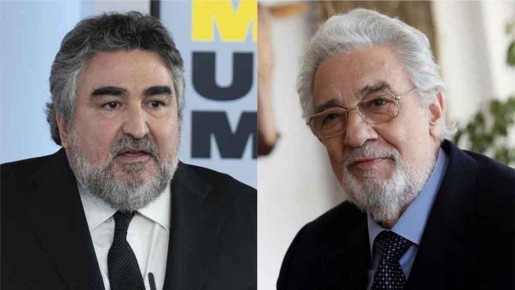 El ministro de Cultura, Rodríguez Uribes, y Plácido Domingo.