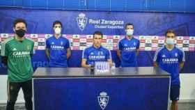 Los jugadores del Real Zaragoza, en sala de prensa
