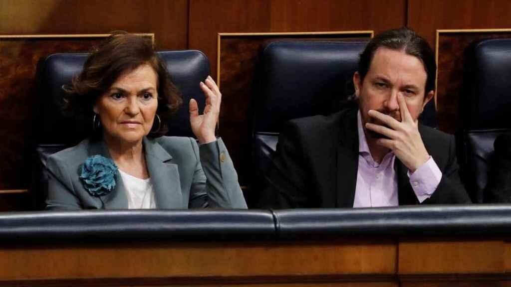 Carmen Calvo y Pablo Iglesias, en el Congreso de los Diputados, en una imagen de archivo.