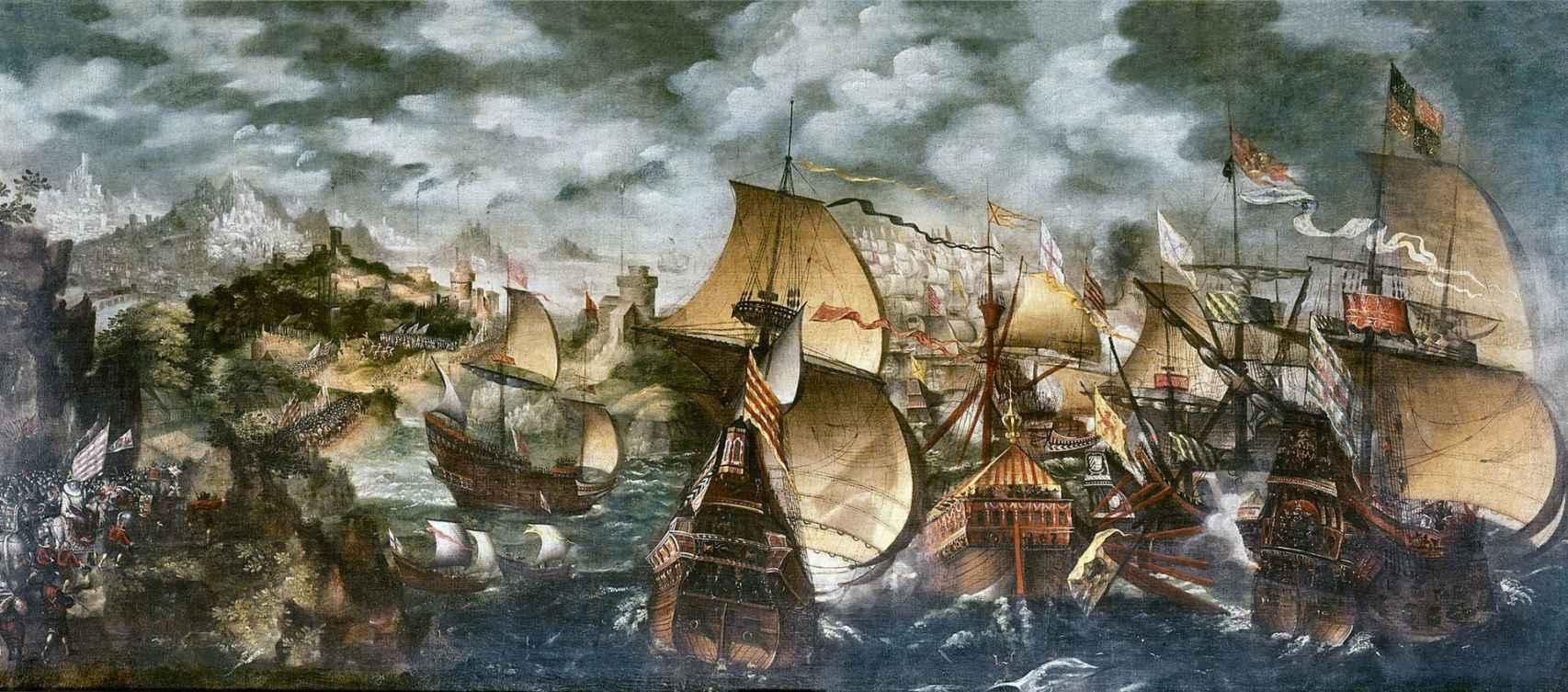 Cuadro sobre la derrota de la Gran Armada de FElipe II atribuido a Nicholas Hilliard.