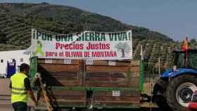 Pancarta de los agricultores de Jaén