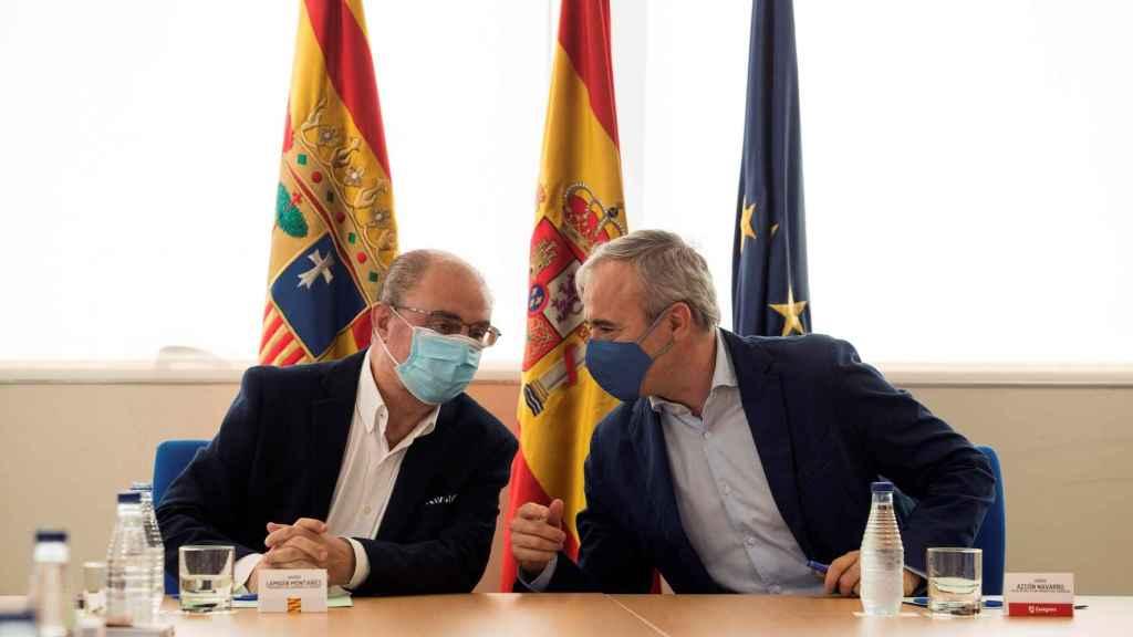 El Presidente de Aragón, Javier Lambán (izquierda) y el alcalde de Zaragoza, Jorge Azcón, reunidos este viernes.