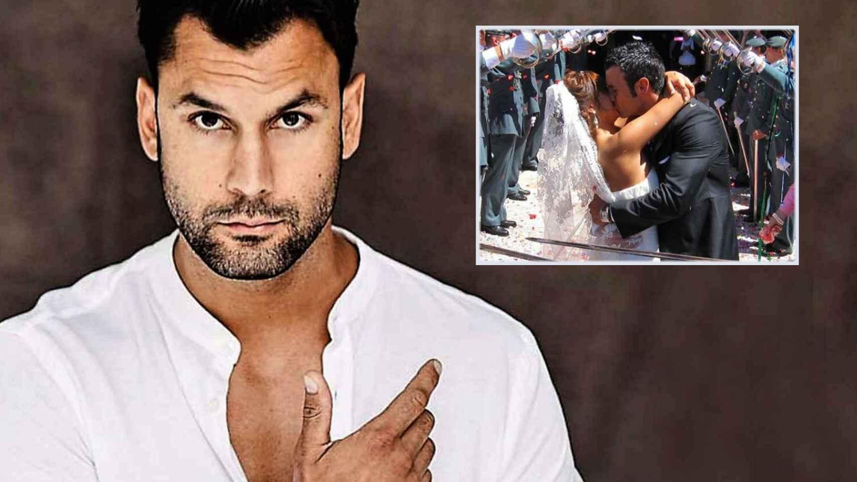 Jorge Pérez en montaje de JALEOS junto a la imagen del día de su boda.