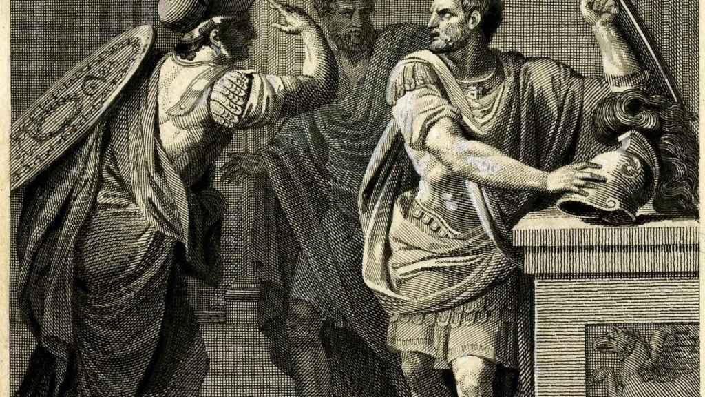 Ilustración que describe a Mitrídates siendo avisado de un inminente ataque de Roma.
