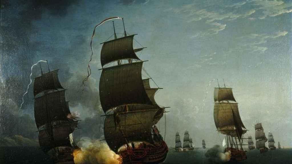 La flota borbónica capturando el HMS Ardent, el único botín de la Armada de 1779.