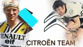 Laurent Fignon, el logo del nuevo AG2R Citroen Team y Bernard Thevenet