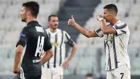 Cristiano Ronaldo durante el encuentro entre la Juventus y el Lyon
