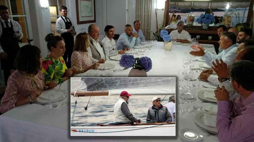 Juan Carlos, rodeado de amigos en una cena en Sanxenxo en 2017.