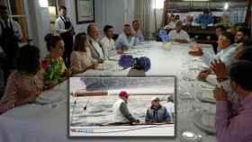 Juan Carlos, rodeado de amigos en una cena en Sanxenxo en 2017