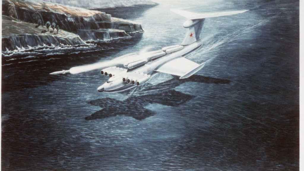 Concepto artístico soviético del ekranoplano, aunque no es fidedigno con el diseño final de la nave.