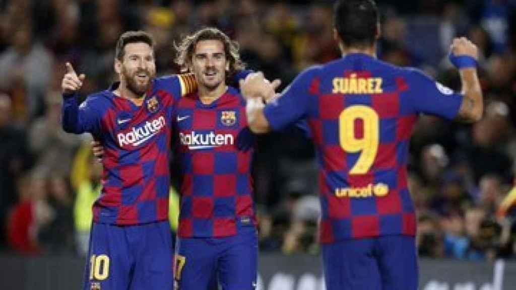 Leo Messi, Antoine Griezmann y Luis Suárez