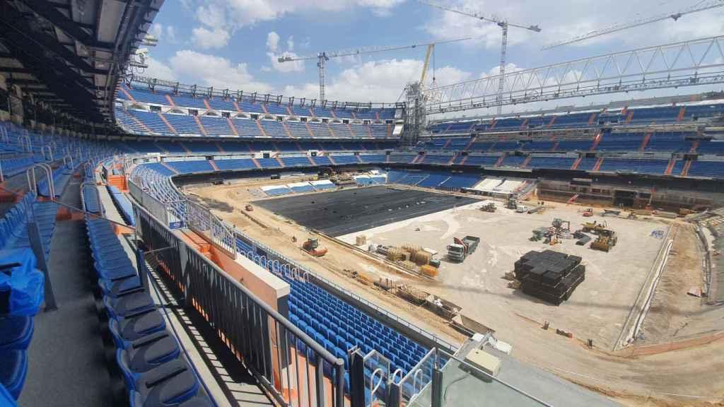 Panorámica del estado del Santiago Bernabéu por dentro