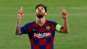Leo Messi celebra su gol ante el Nápoles